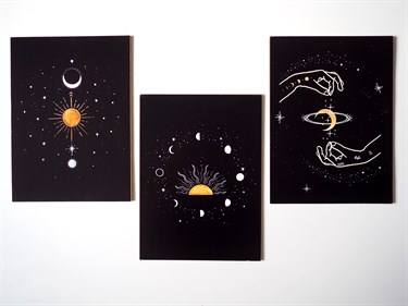 Moon Phases 3lü Ahşap Tablo Seti